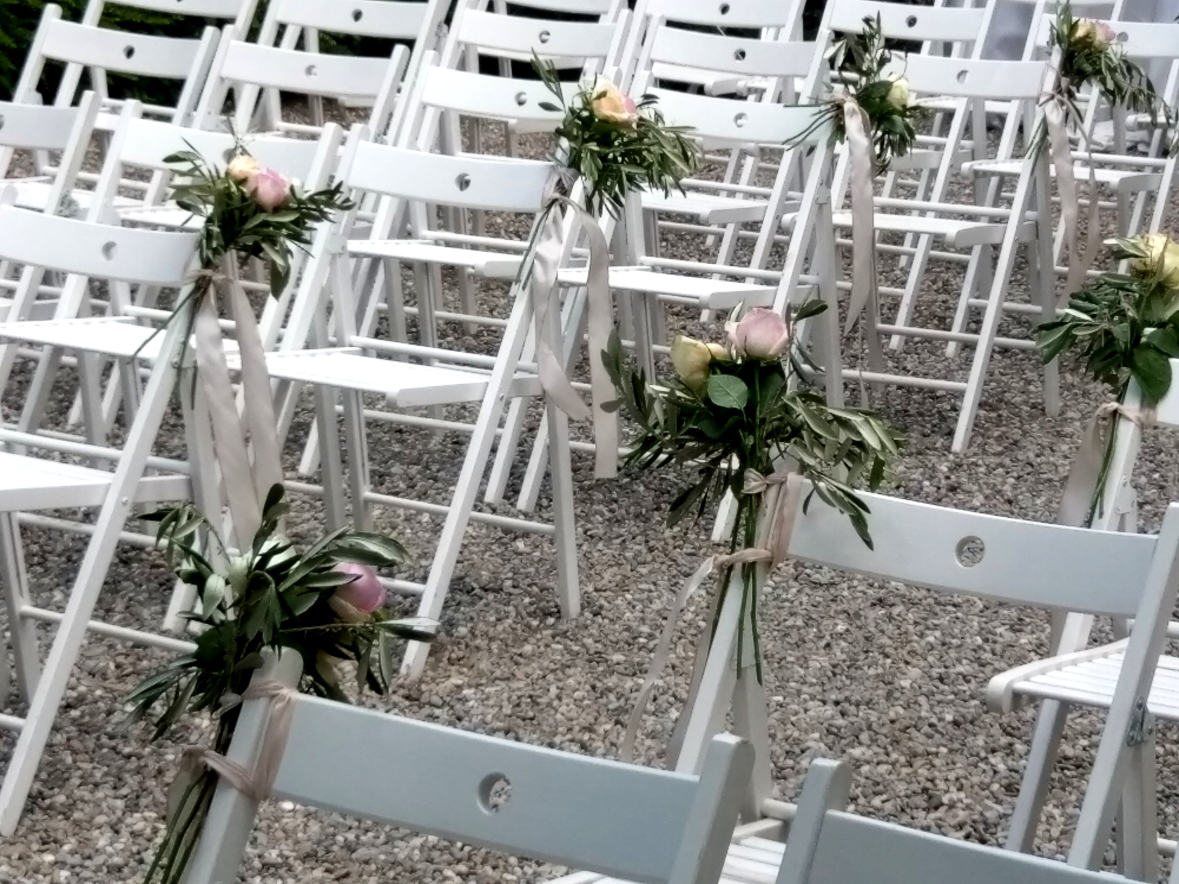 Free stock photo of chairs, flower bouquets