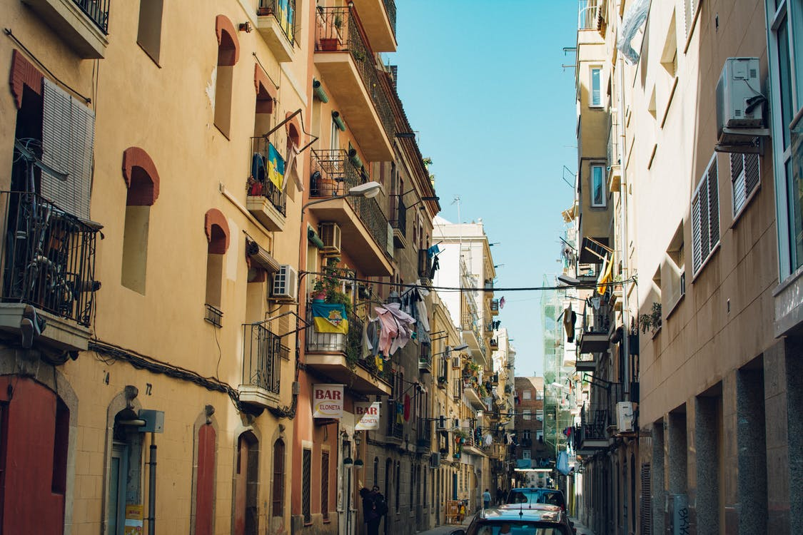 arquitectura, balcones, calle