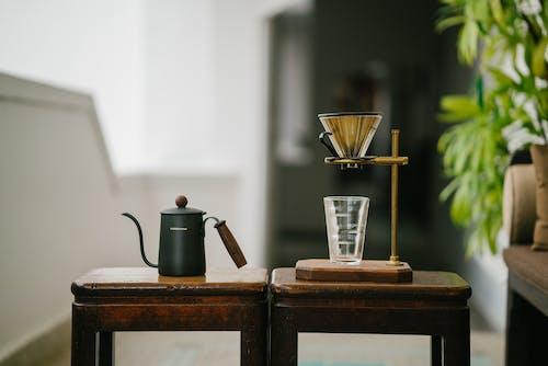 Ilmainen kuvapankkikuva tunnisteilla huonekalut, juomalasi, kahvinkeitin, kasvi