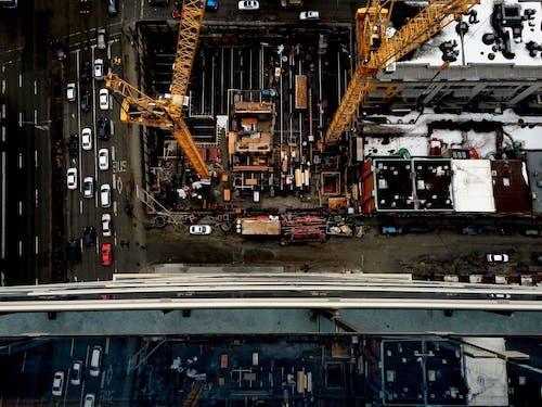 arabalar, binalar, havadan görünüş, inşaat alanı içeren Ücretsiz stok fotoğraf