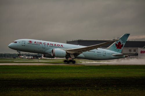 White Air Canada Plane on Green Grass
