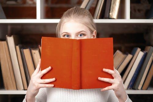 Free stock photo of beautiful, blond, bookshelf