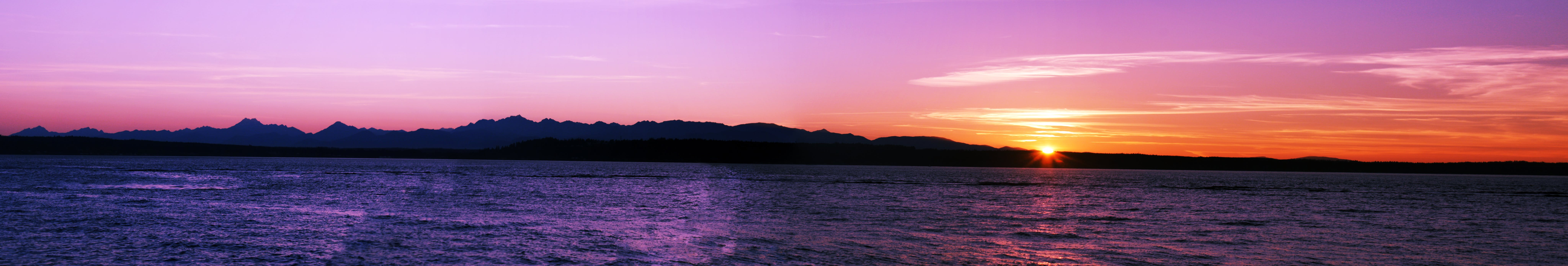 Panoramic Photography of Sea at Sunset