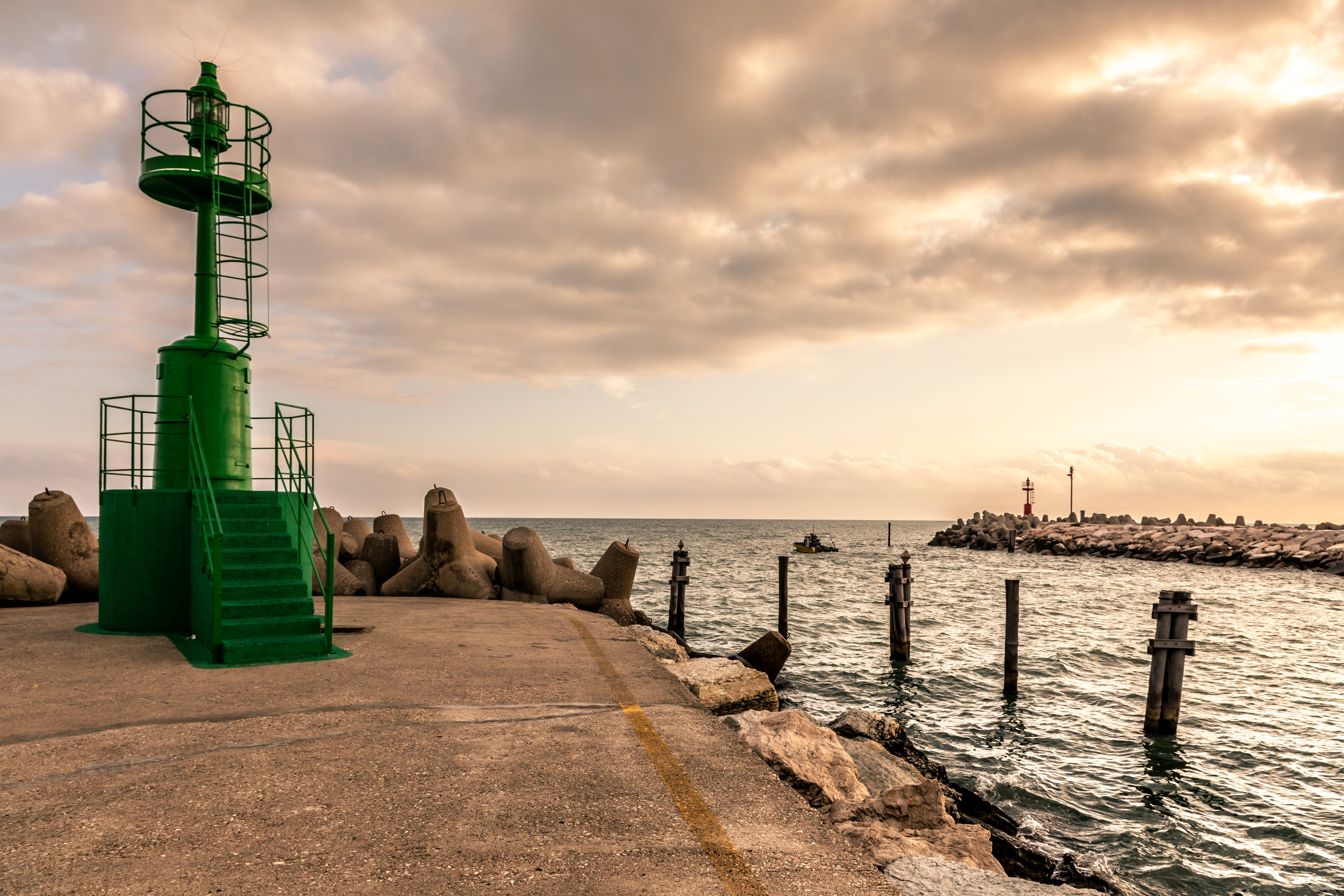 Free stock photo of adriatic sea, fano, golden hour, lighthouse
