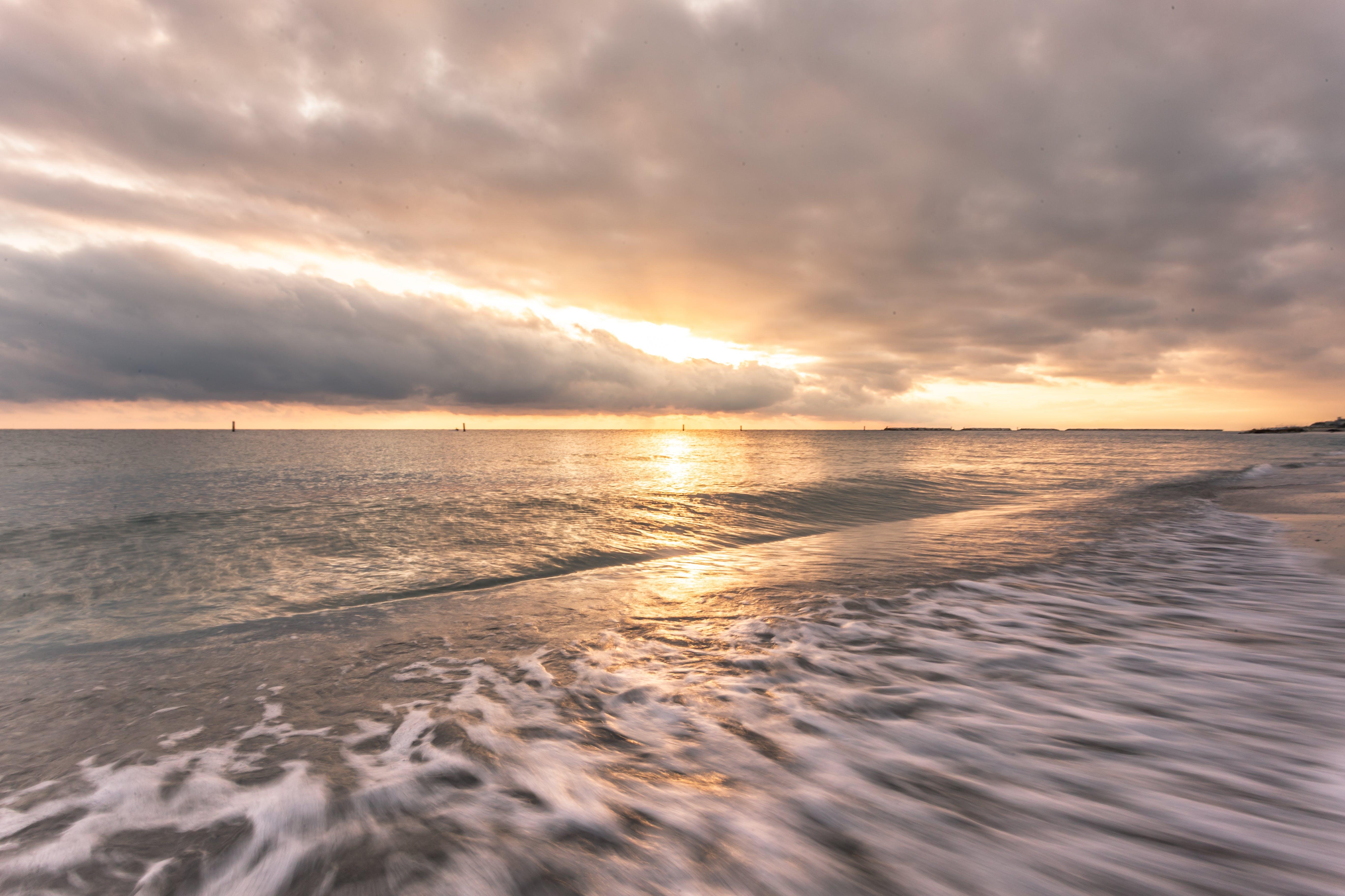 aften, bølger, gylden time