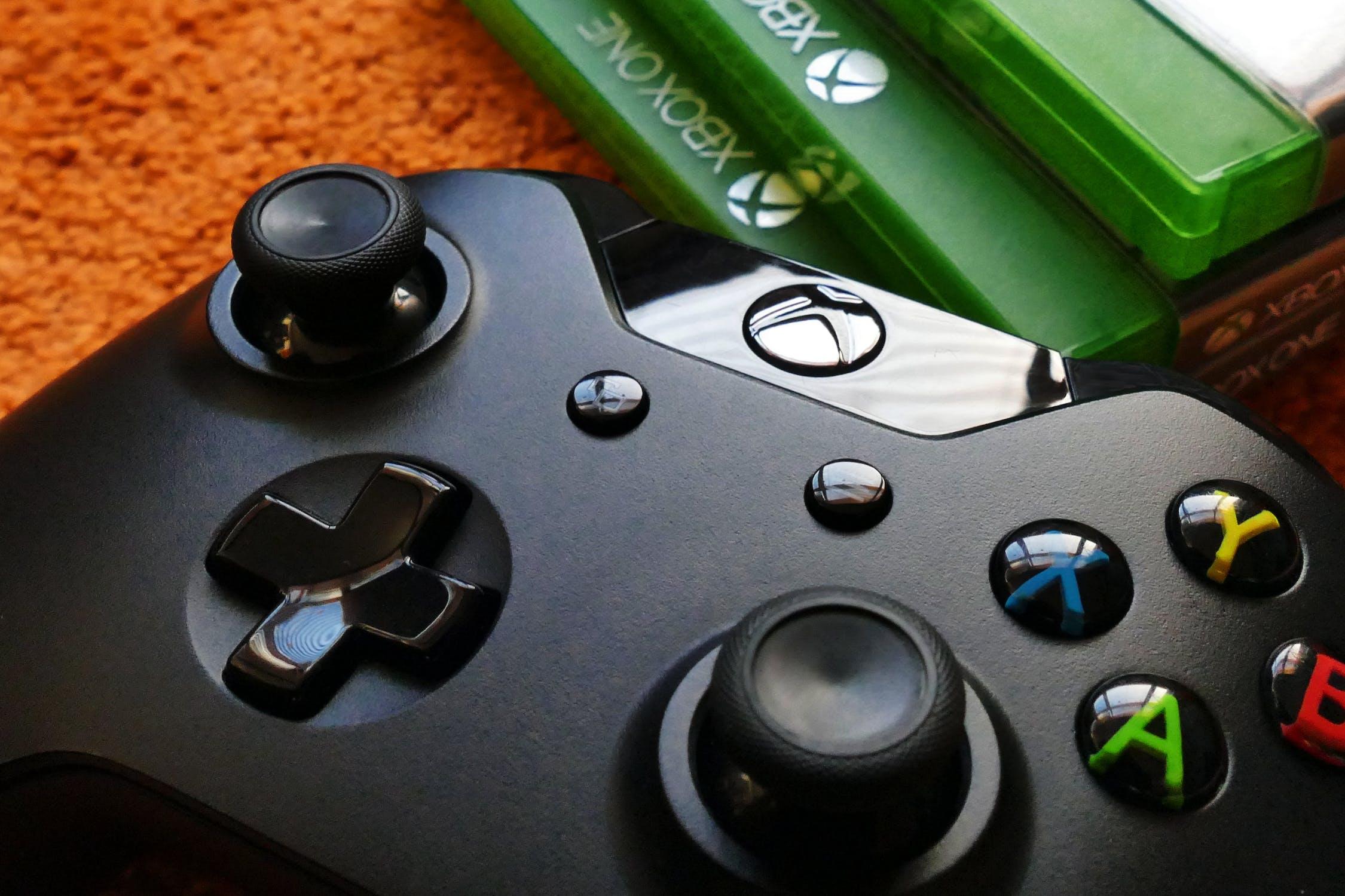 controller, xbox, video games, green