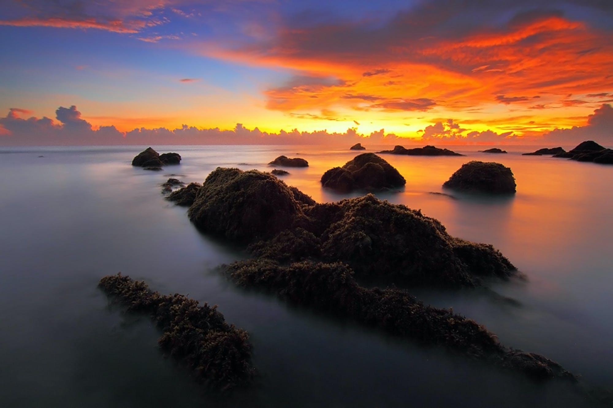 シースケープ, ビーチ, 夜明け, 日の出の無料の写真素材