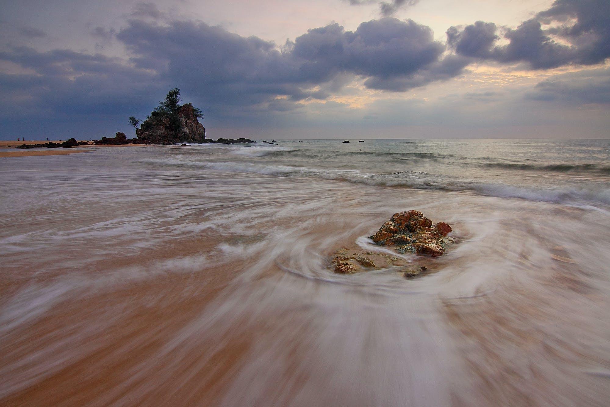 beach, cloudy, dawn