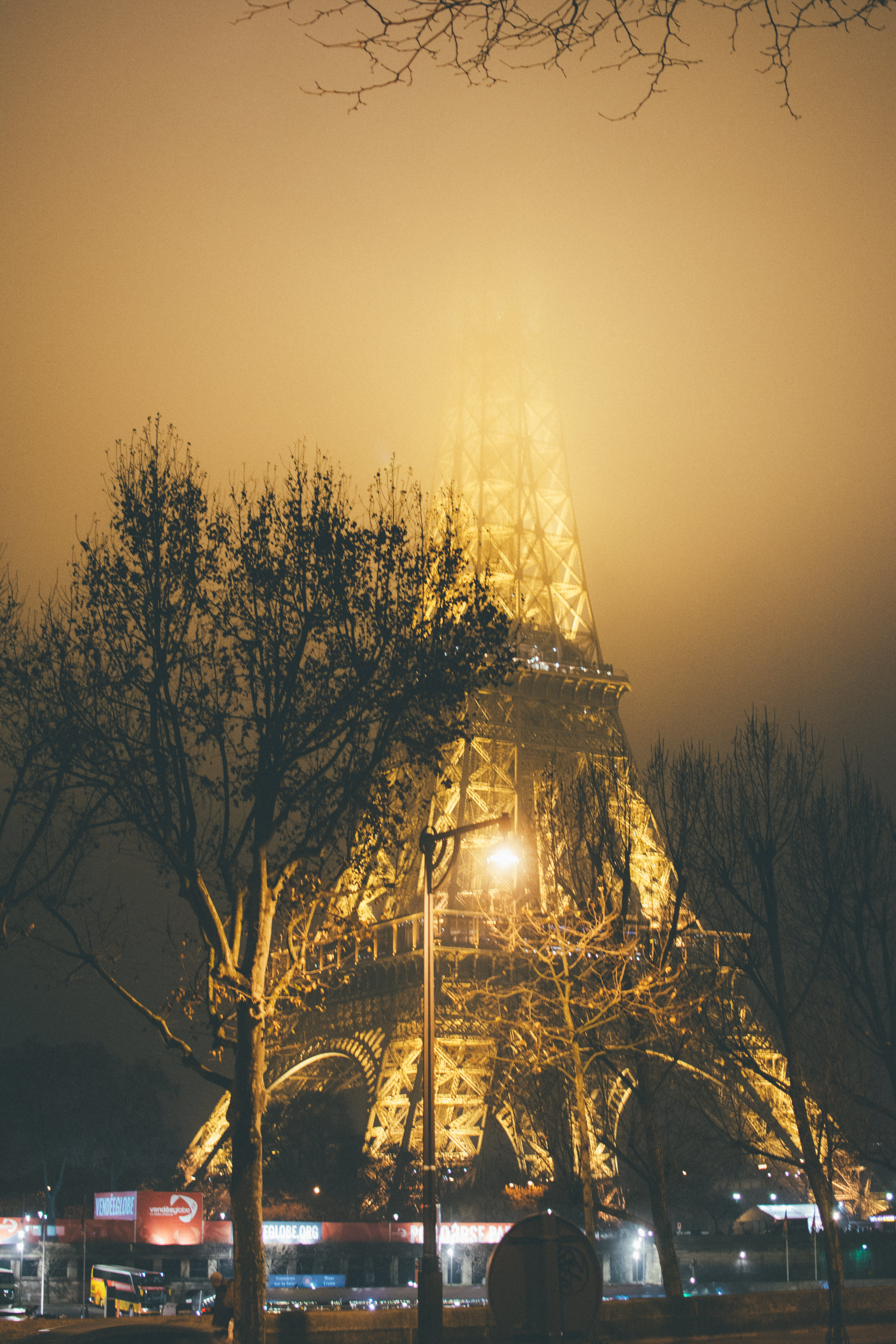 Photo of Eiffel Tower During Foggy Night
