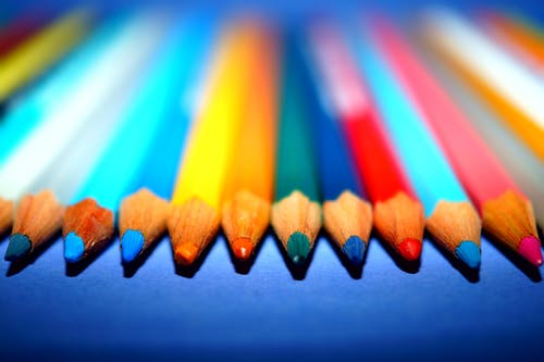 Free stock photo of close-up view, color pencils, colorful, macro photography