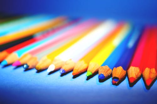 Free stock photo of color pencils, macro photography