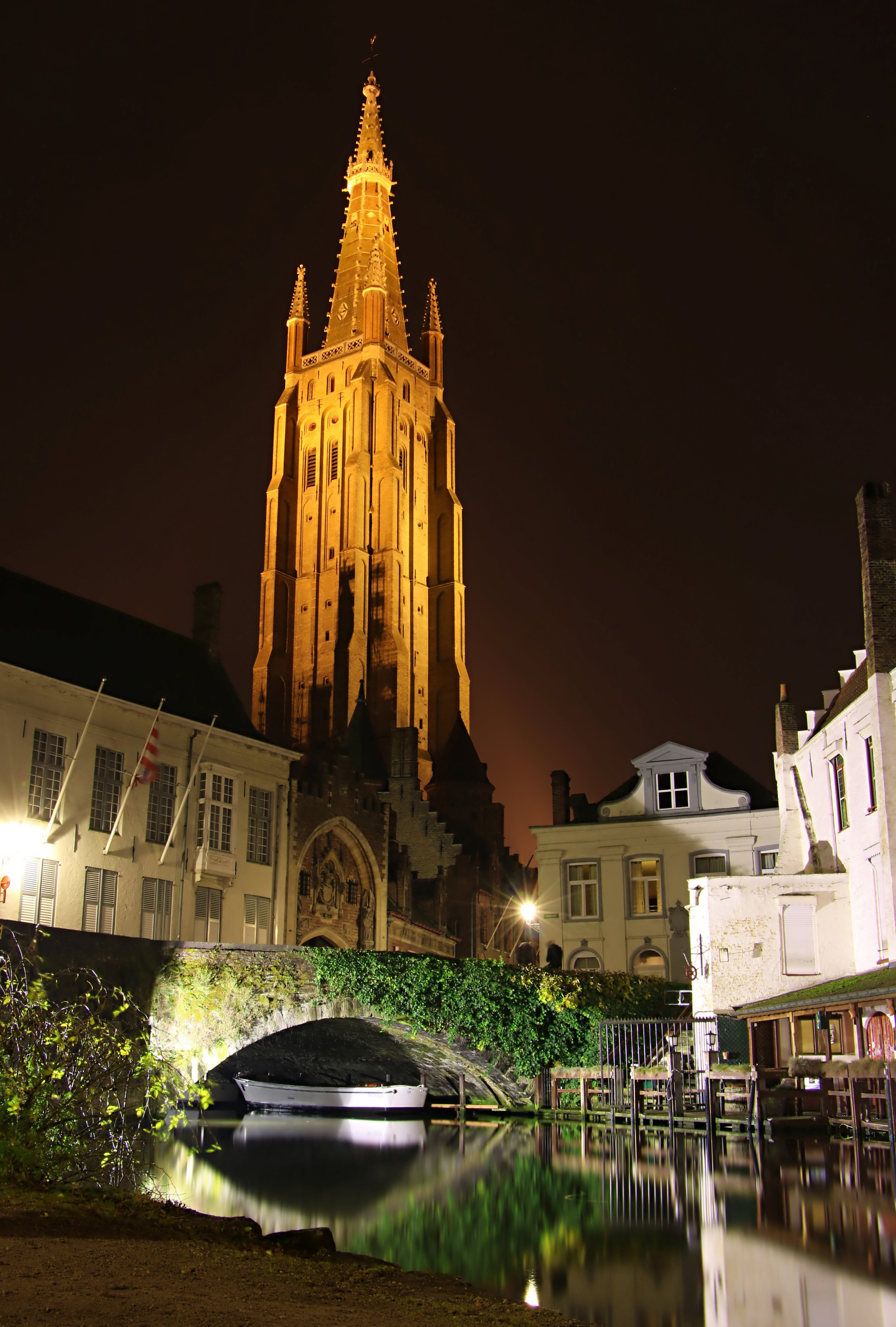 Free stock photo of church, night city, water colours