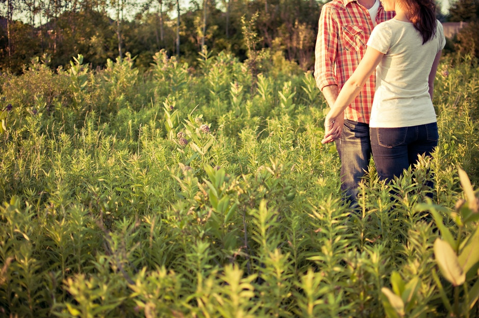 countryside, couple, engaged