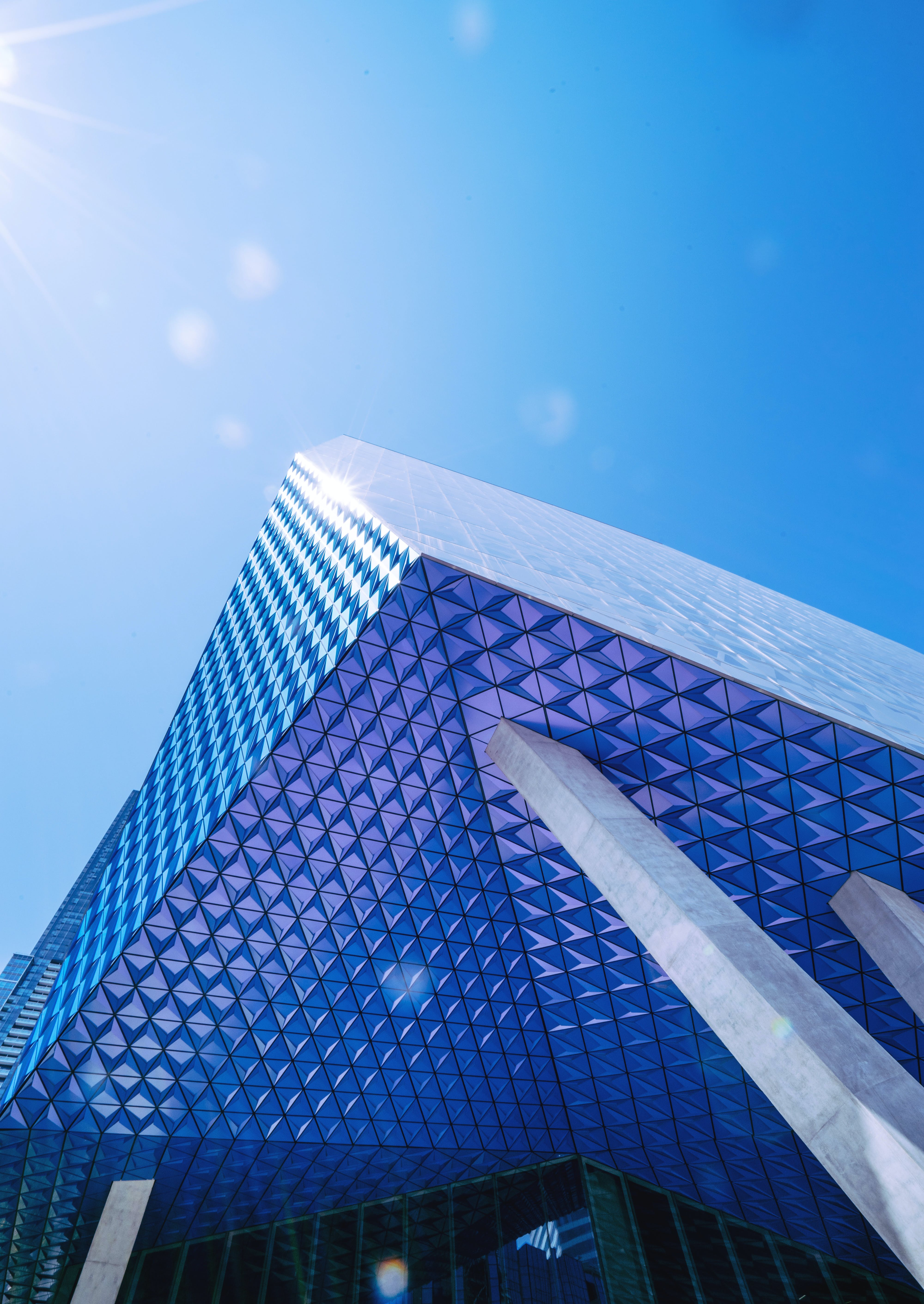 Architectural Photography of Blue Building