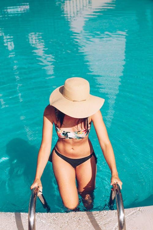 aigua, atractiu, barret de platja