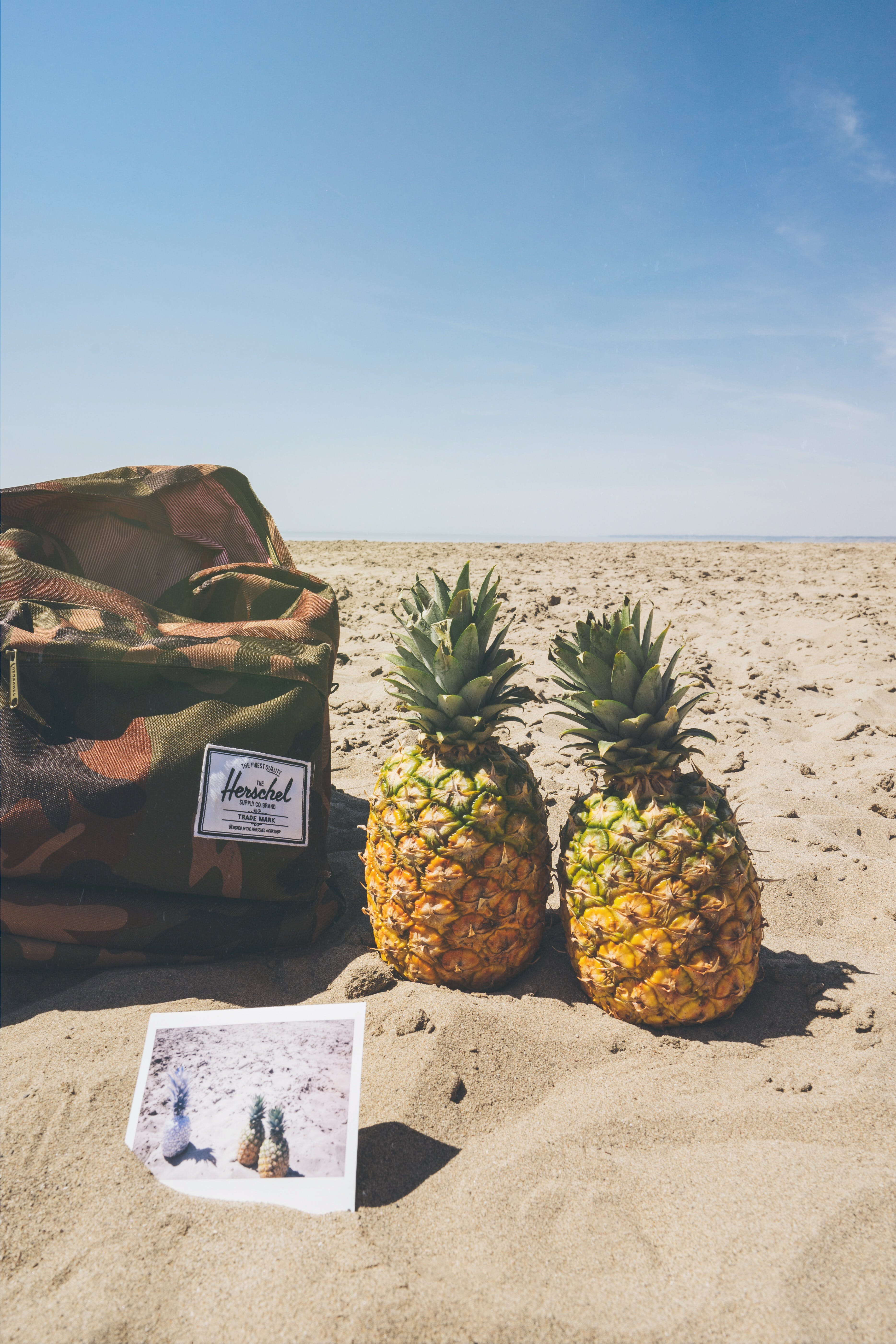 Green, Black, and Brown Camouflage Herschel Backpack Beside Two Pineapple Fruits on Brown Field