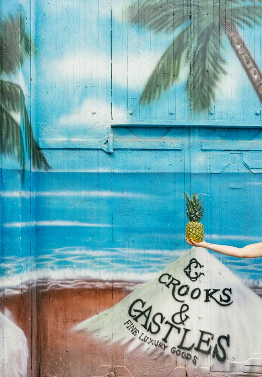 ananás, farba, graffiti