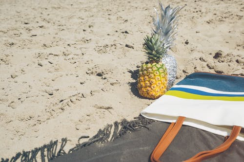 Foto profissional grátis de abacaxis, areia, arenoso, cheio de areia