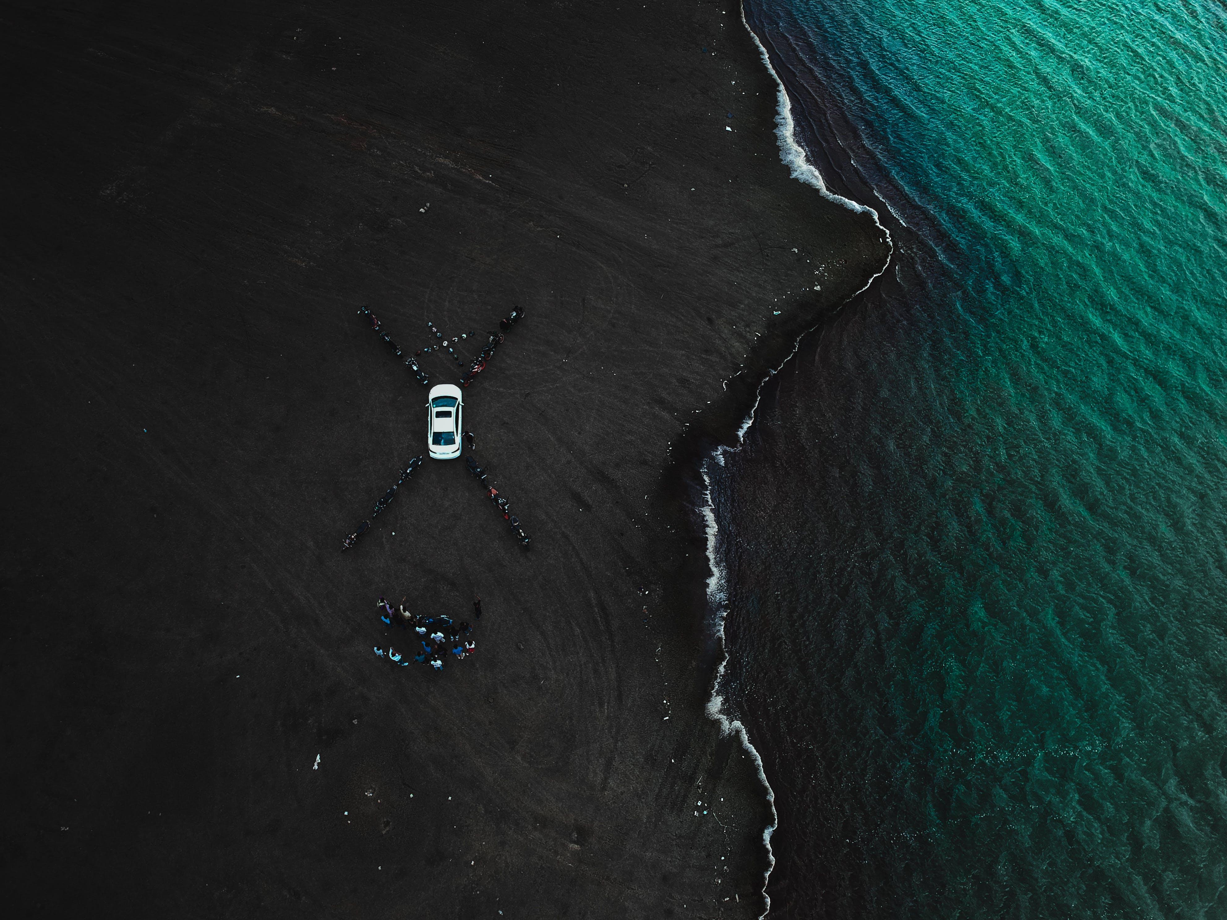 White Car Parked Near Seashore