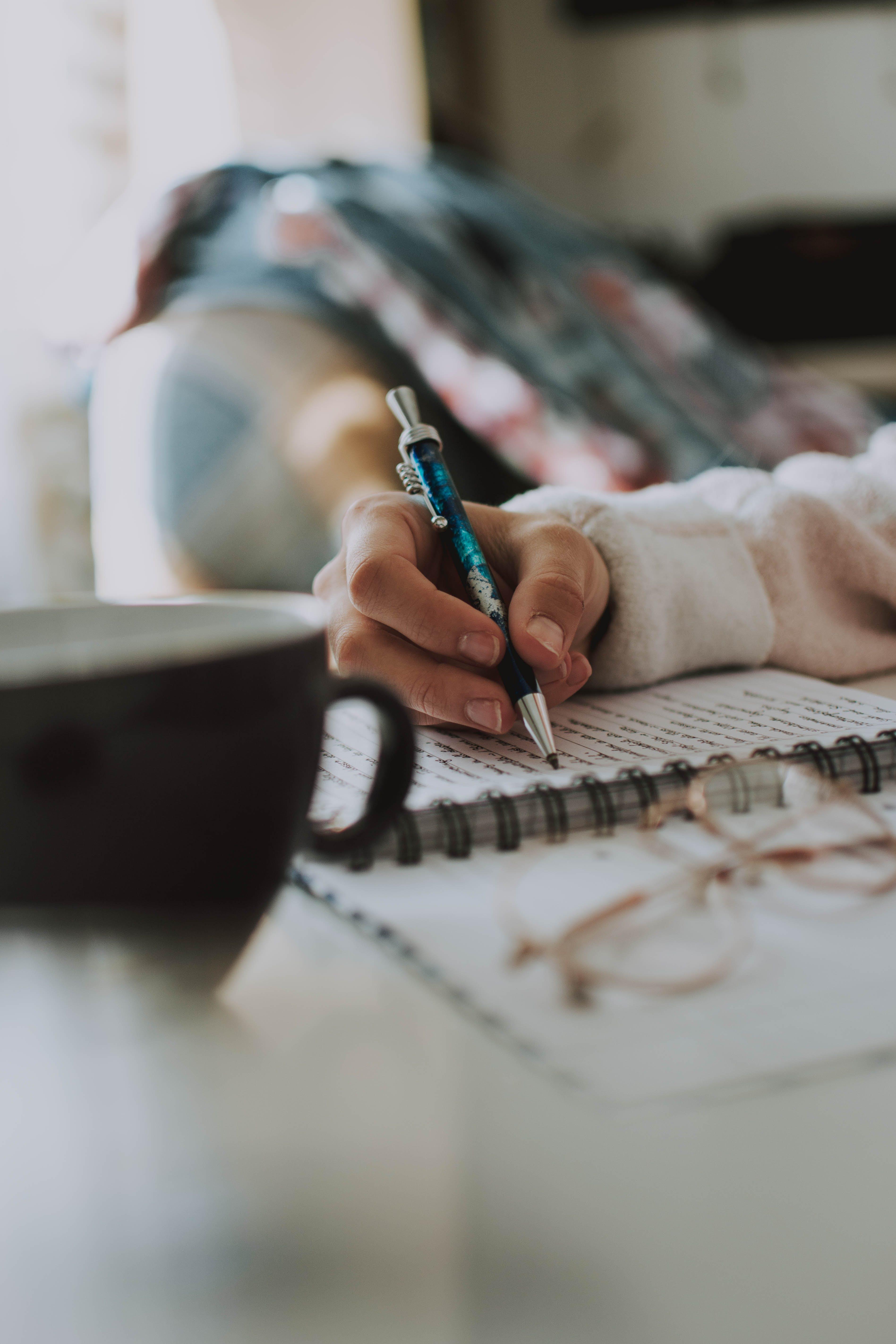 anteckningsbok, ha på sig, hand