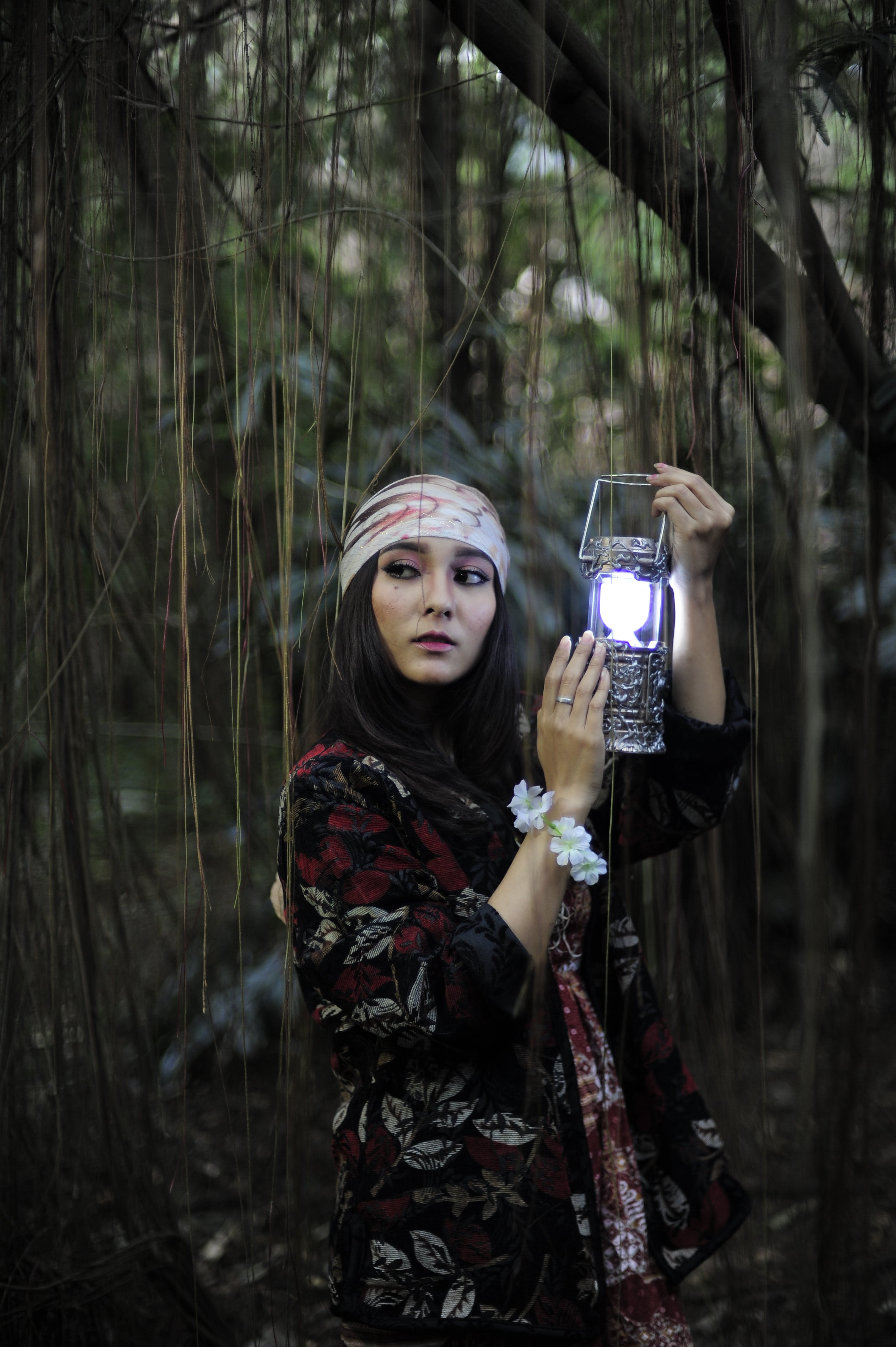 Woman Holding Lantern Lamp on Forest