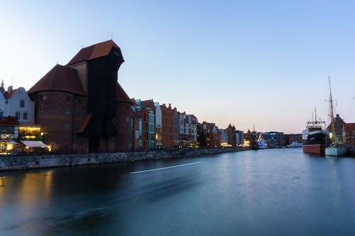 Free stock photo of citylights, crane, crane house, gdansk