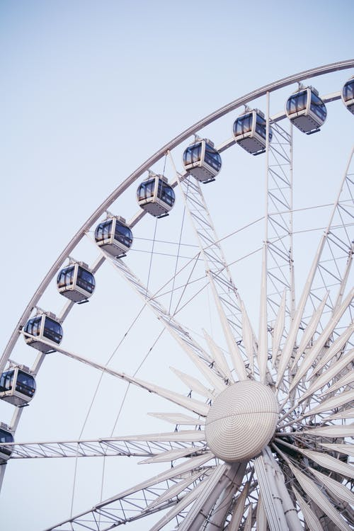 Low-angle Photography of Grey and Blue Ferris Wheel Ride