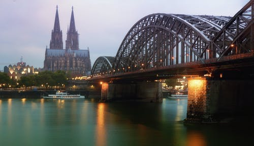 Free stock photo of arch bridge, cologne cathedral, color in water