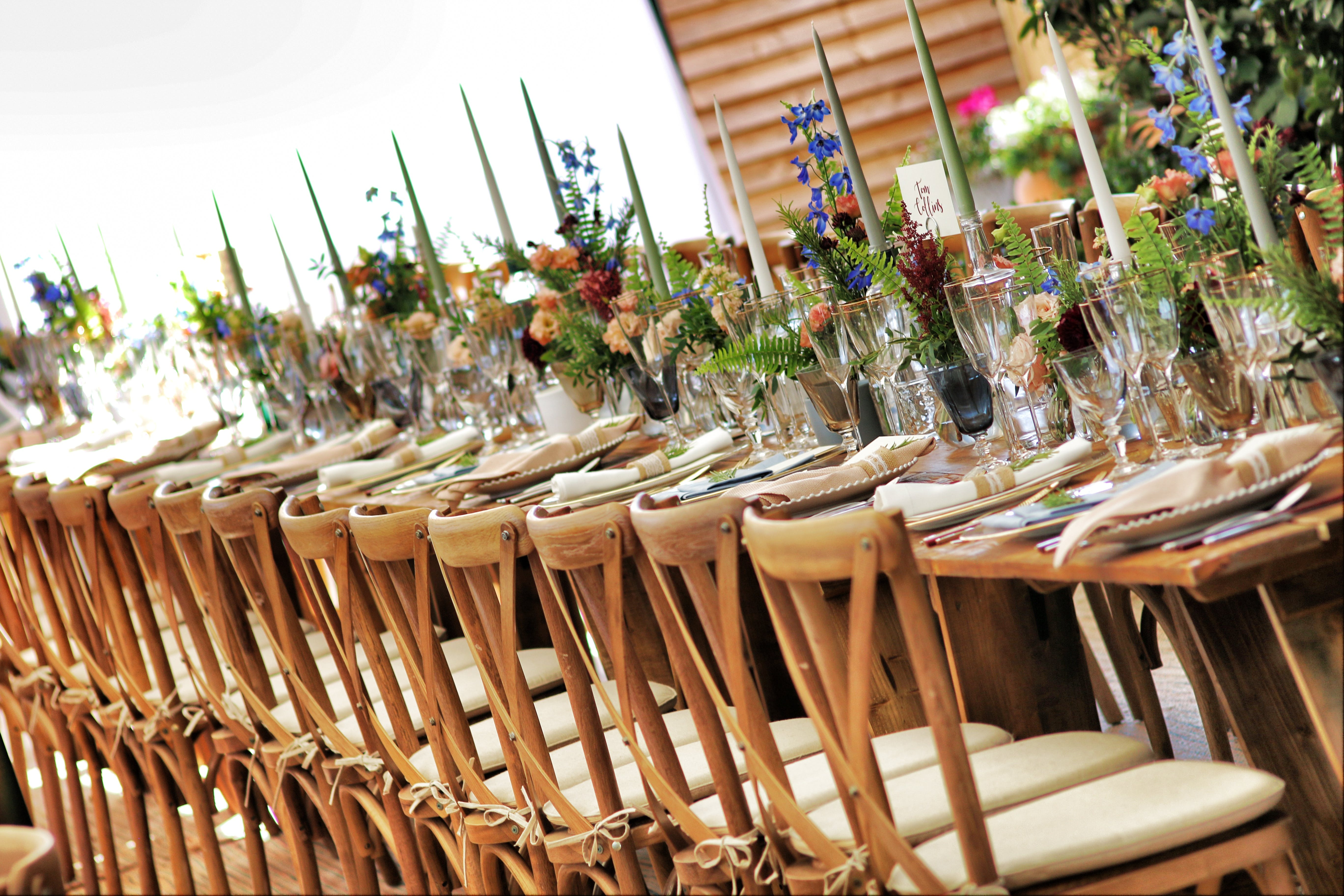 White-padded Brown Wooden Chairs Near Brown Table Outdoor