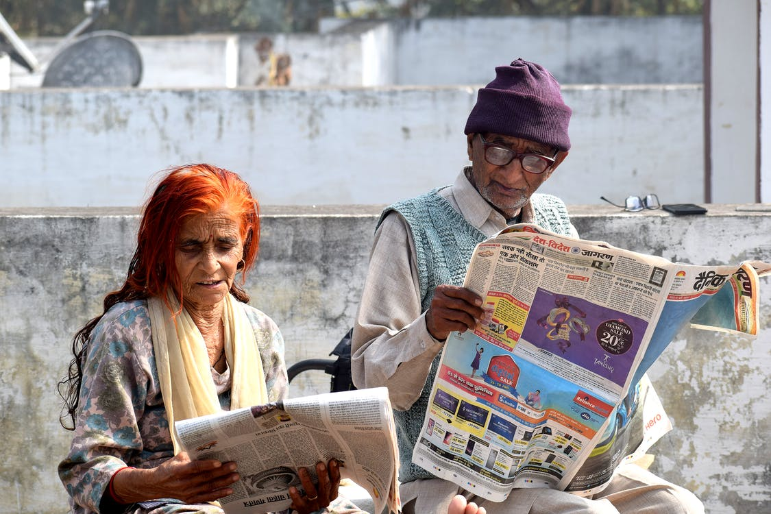 Free stock photo of man, newspaper, old