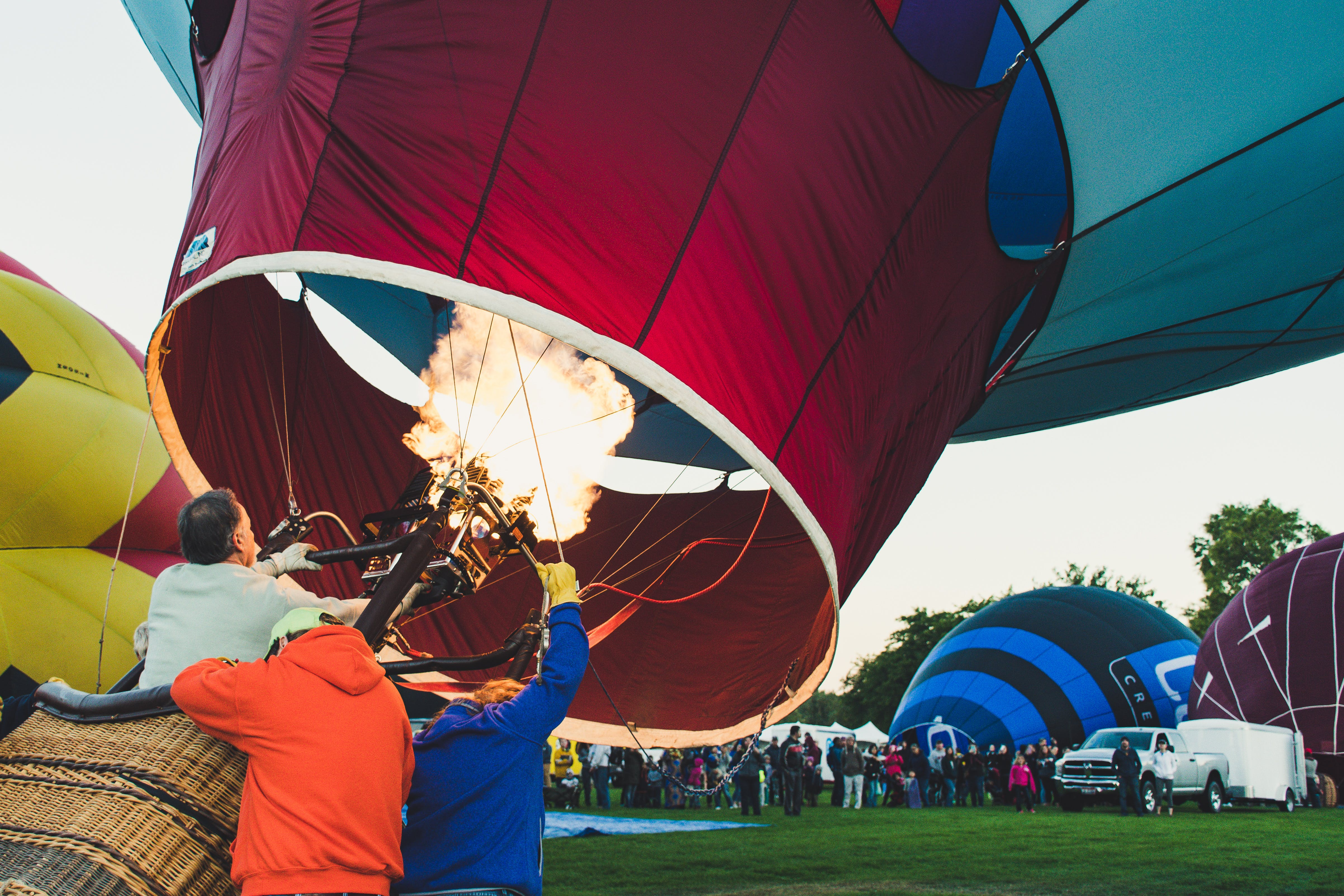 Three People Inside the Hot Air Balloon