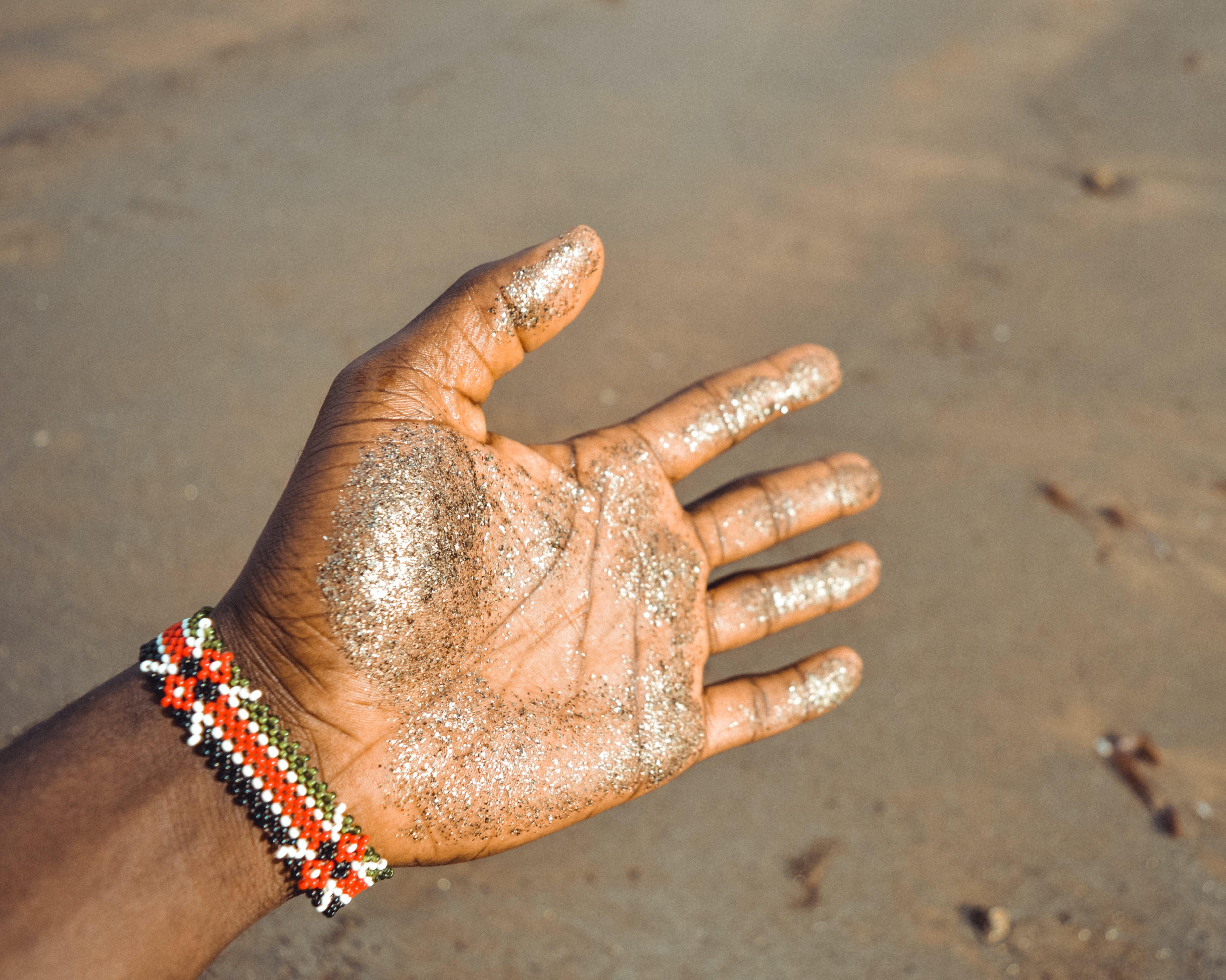 Left Human Palm With Glitters