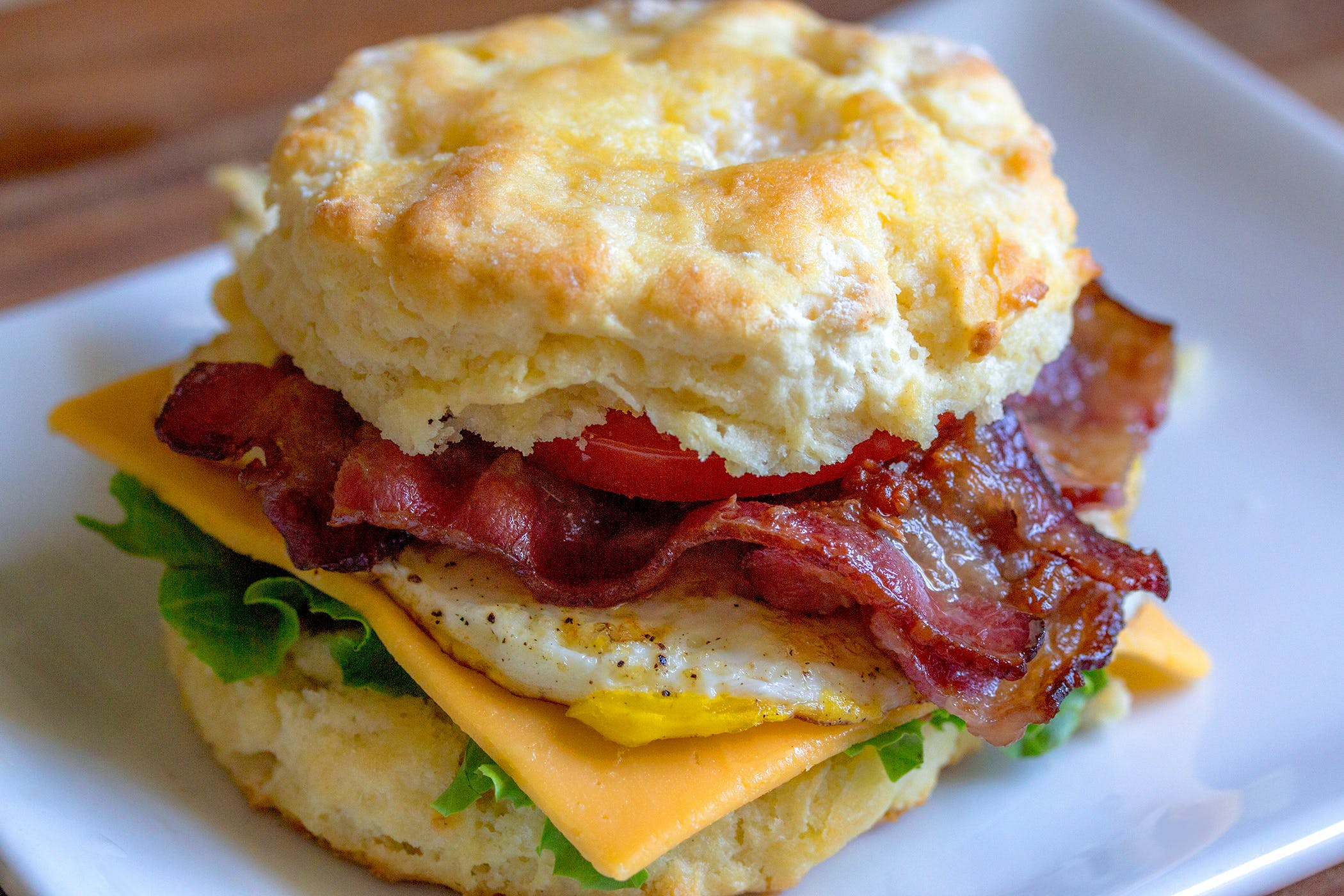 bacon, biscuit, breakfast