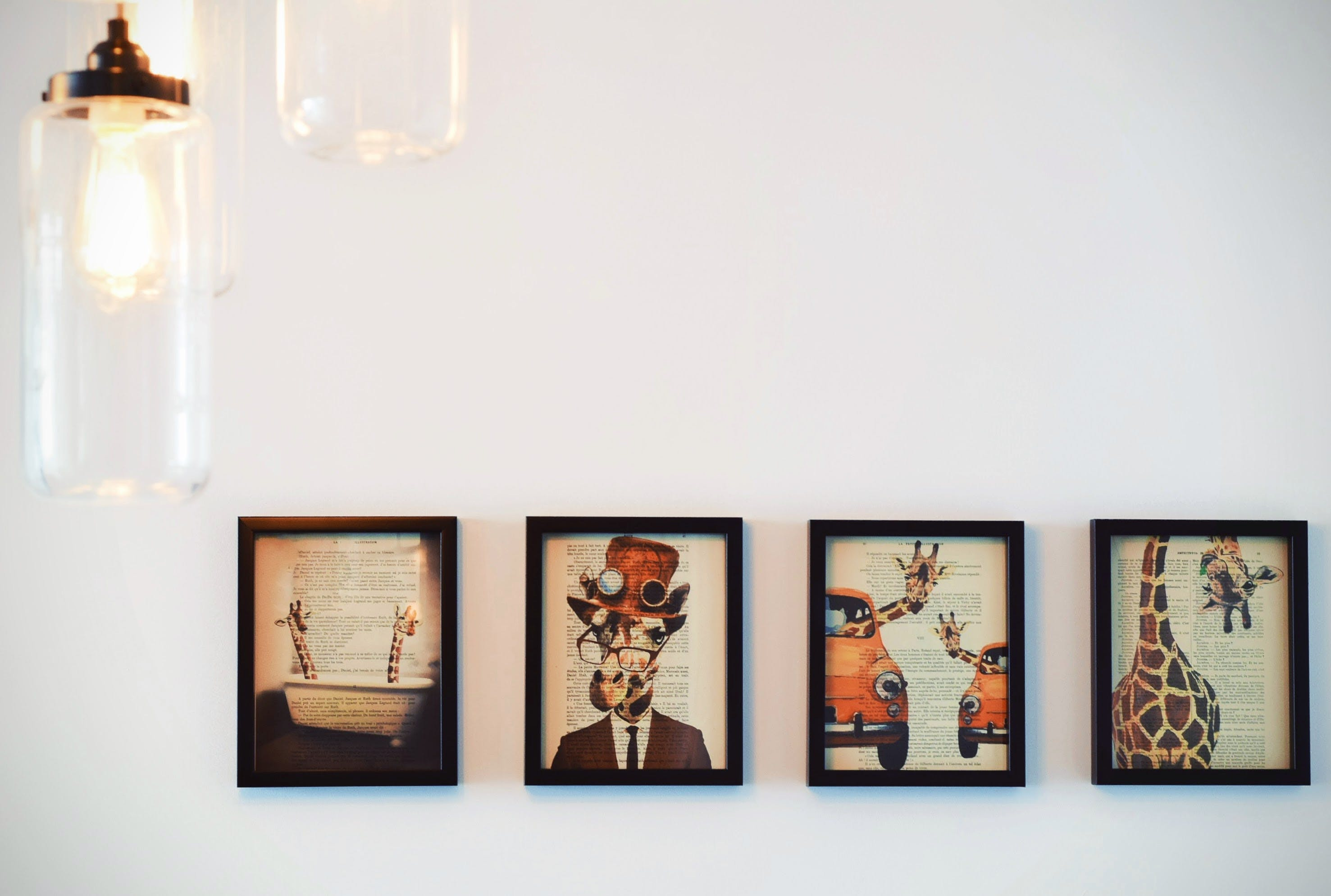 Four Paintings on Wall