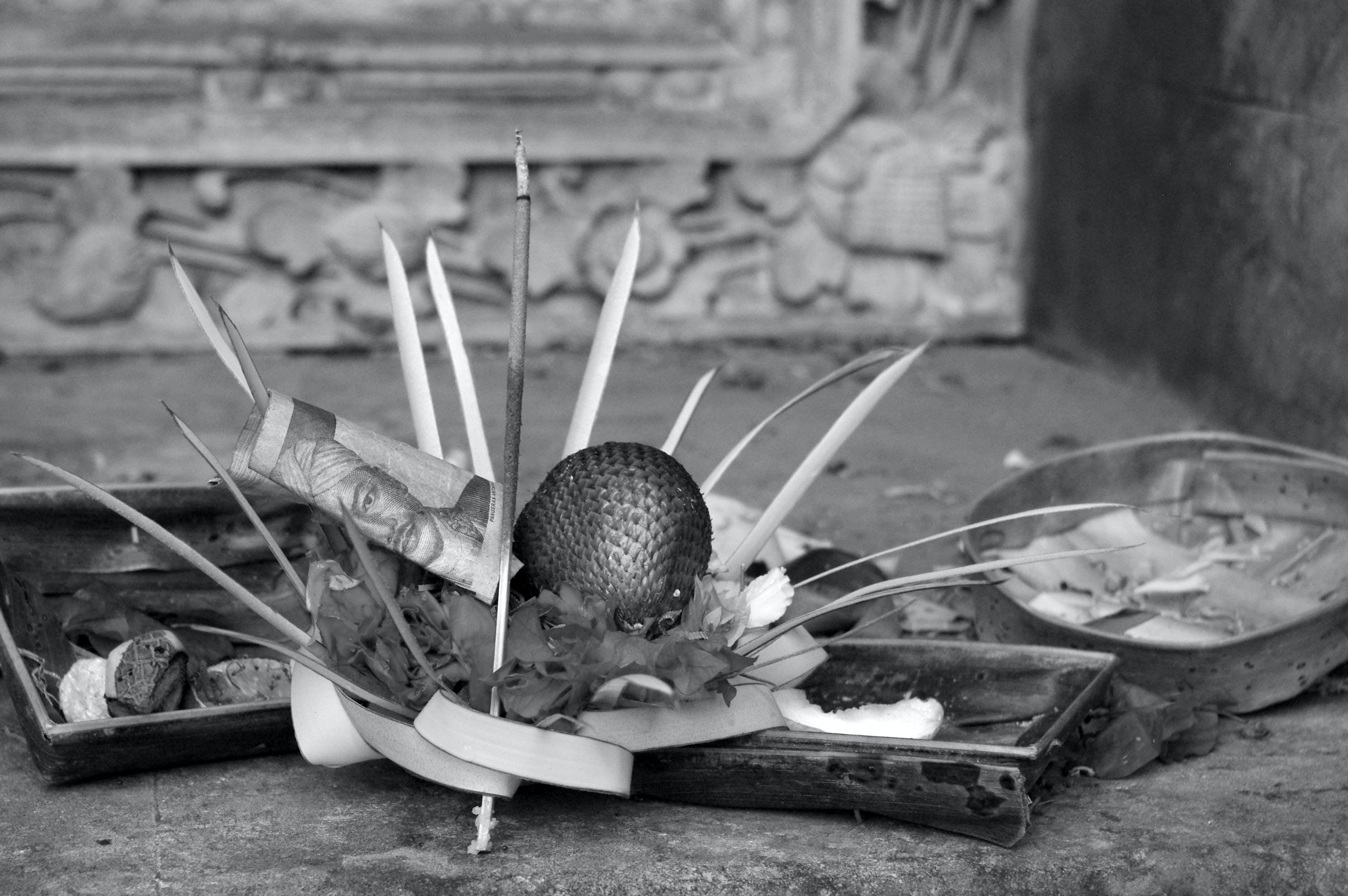 Free stock photo of balinese, black and white, donation, hindu