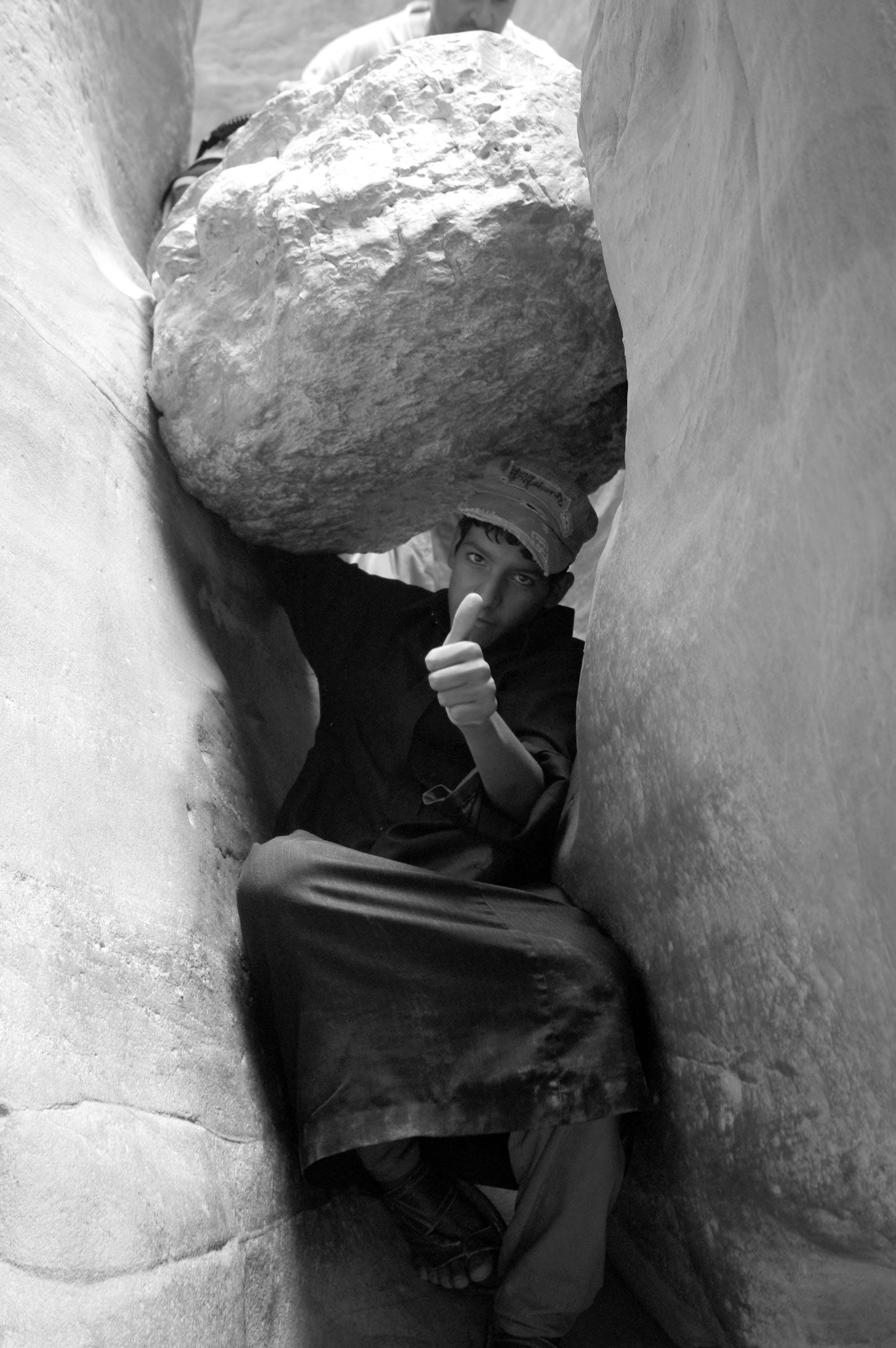 Free stock photo of black and white, canyon, desert, jordan boy