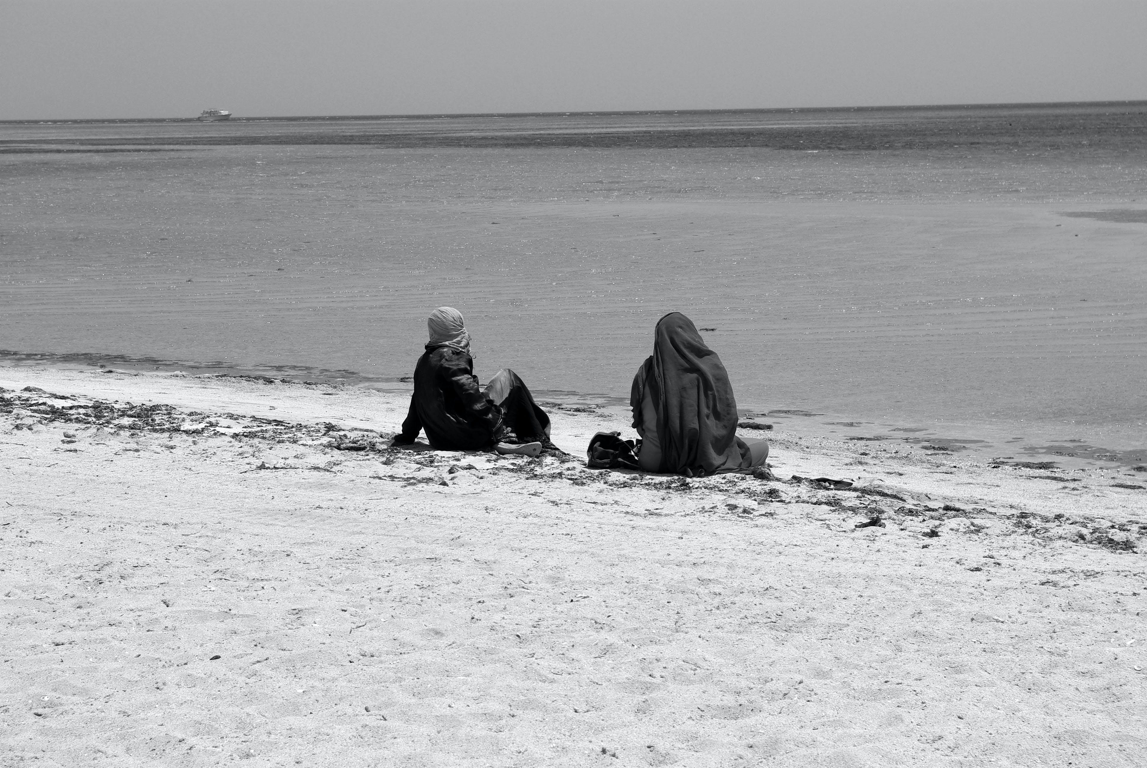 Free stock photo of beach, black and white, desert, Red sea