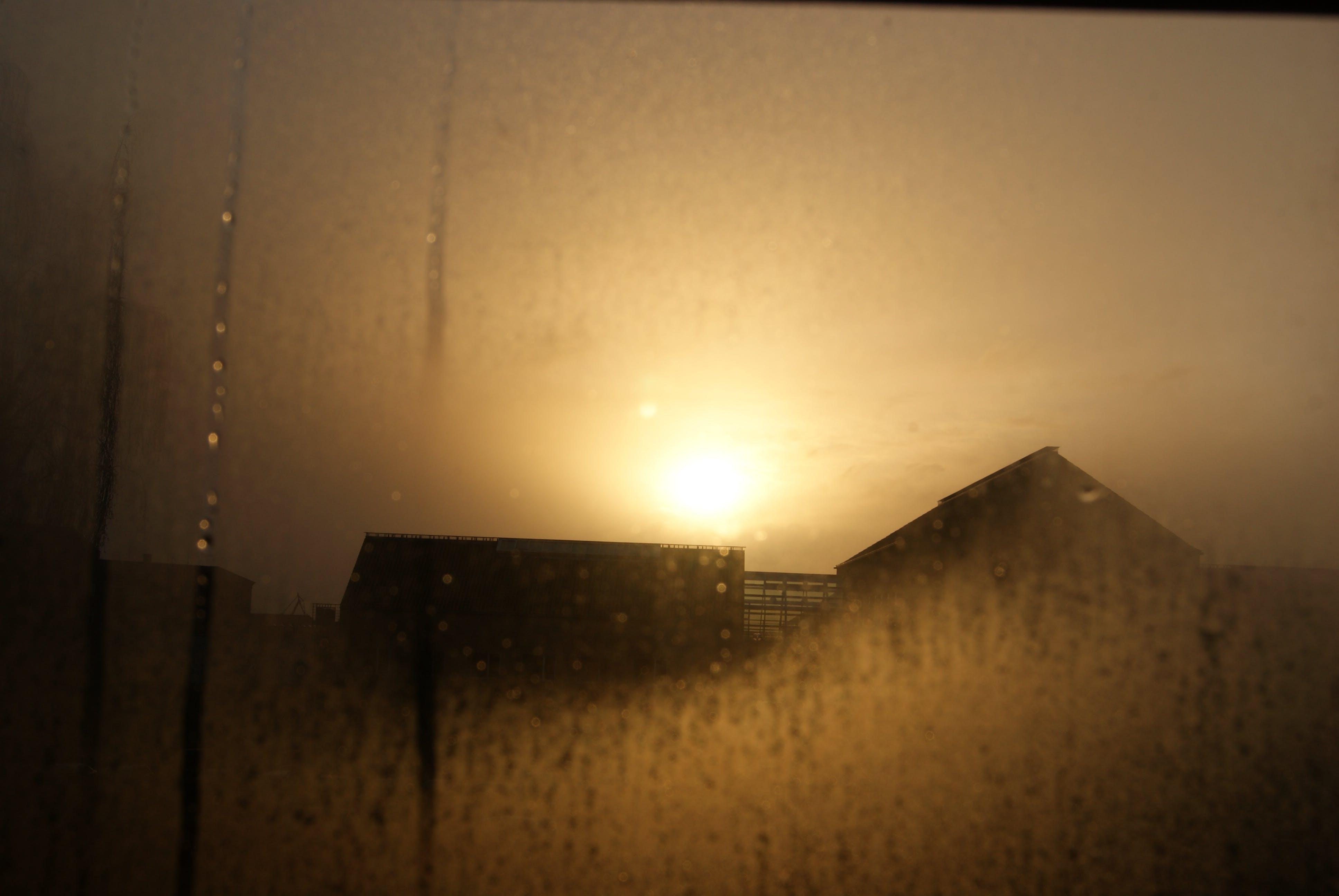 Free stock photo of building, dew, silhouette, sun