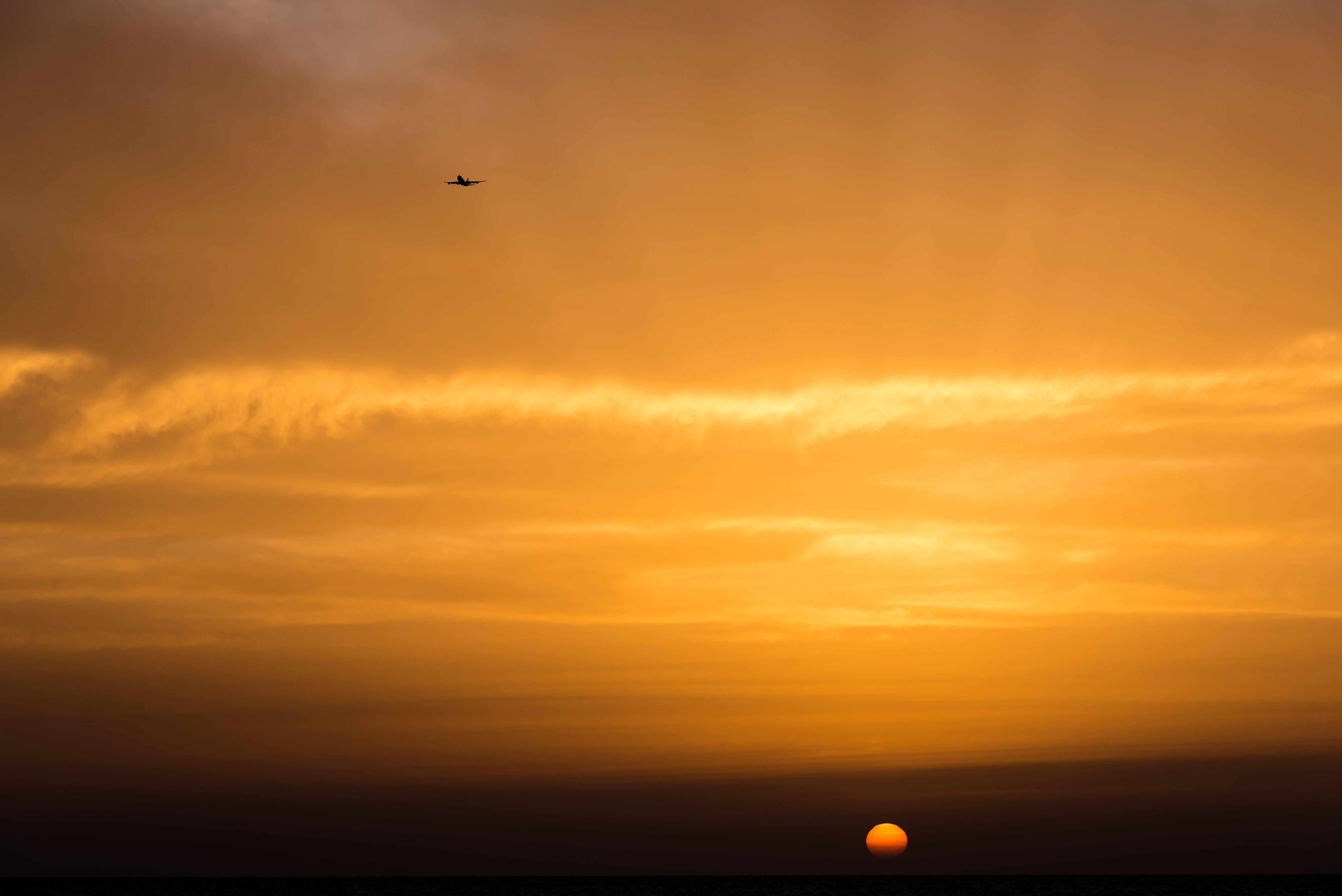 Free stock photo of airplane, calm, clouds, orange