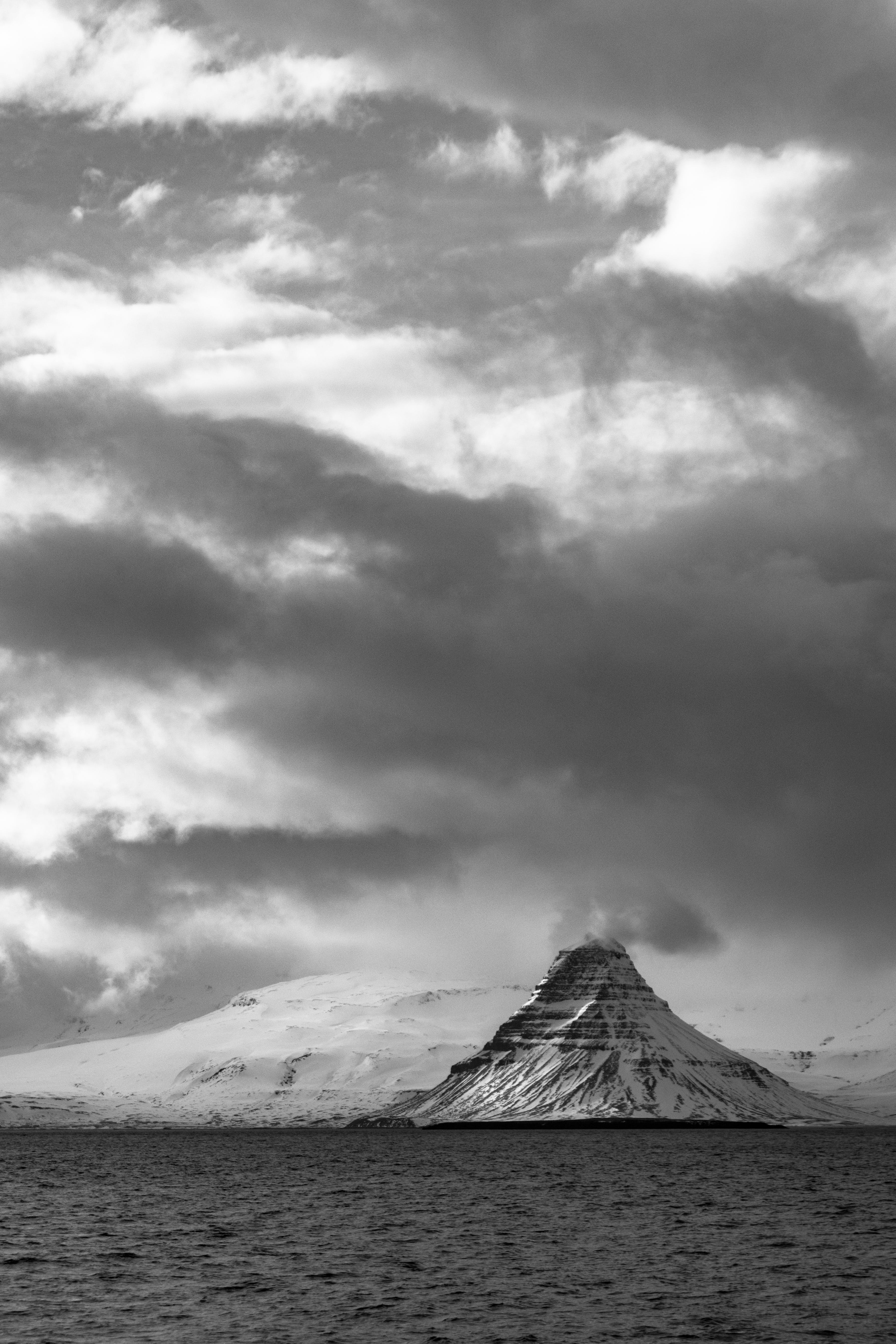 Grayscale Mountain and Clouds