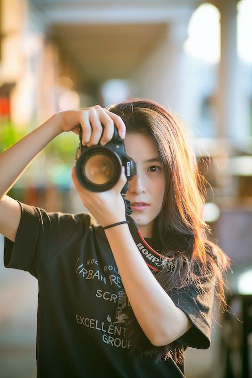 dievča, fotoaparát, fotograf