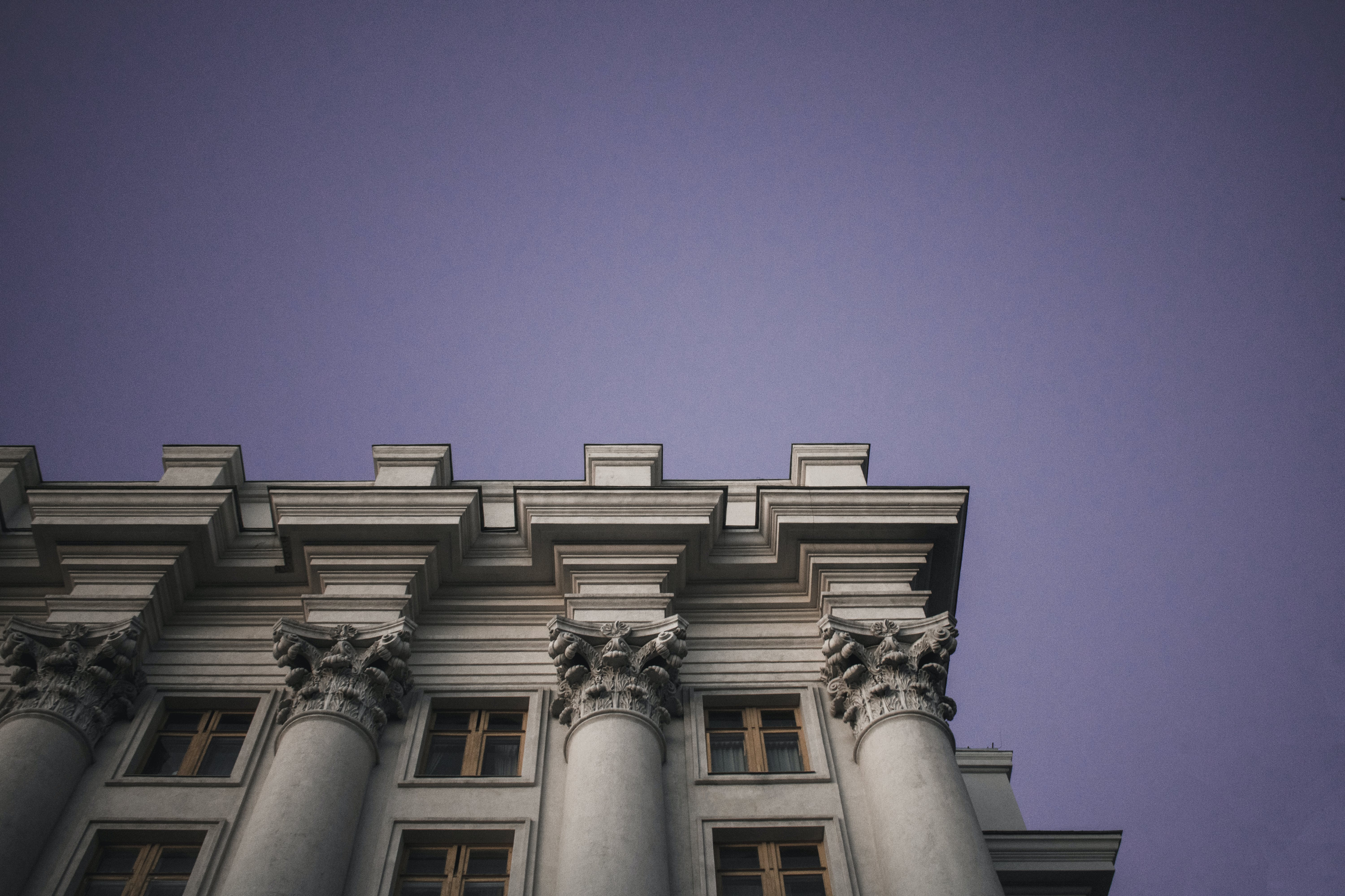 Gray Concrete Building in Worm's-eye View