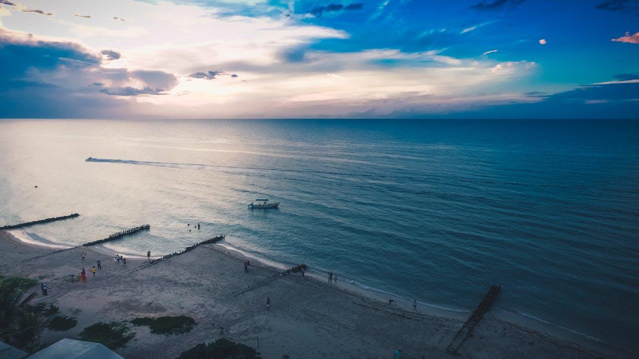 auringonlasku, hiekkaranta, kesä