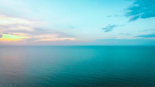 日落, 海, 海灘, 無人機 的 免费素材照片
