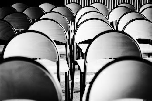 Immagine gratuita di auditorium, bianco e nero, camera, fila