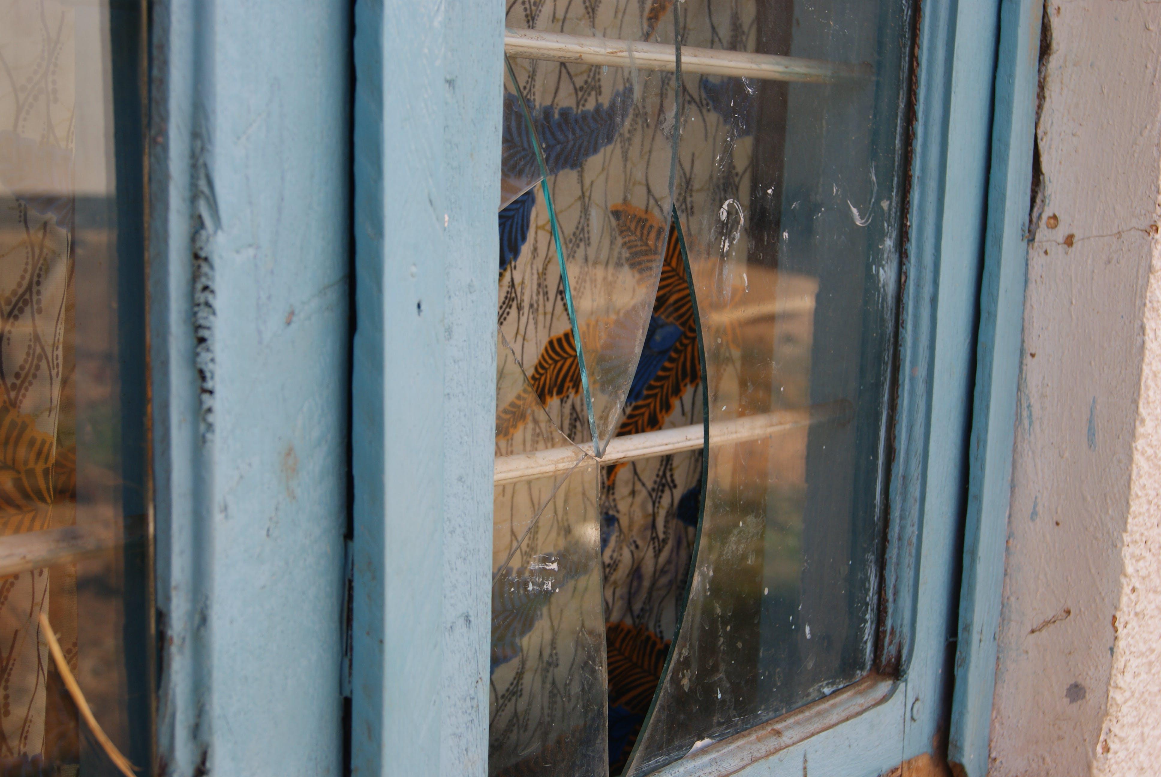 Free stock photo of blue, broken glass, window