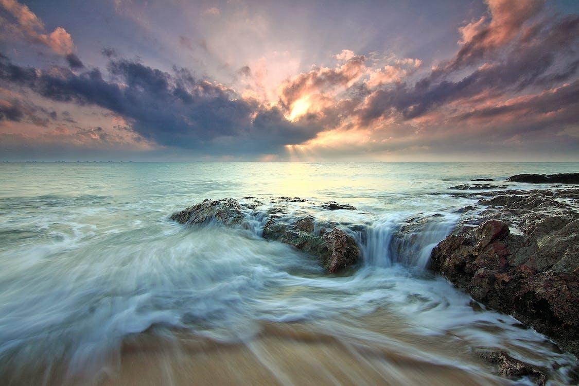 agua, amanecer, arena