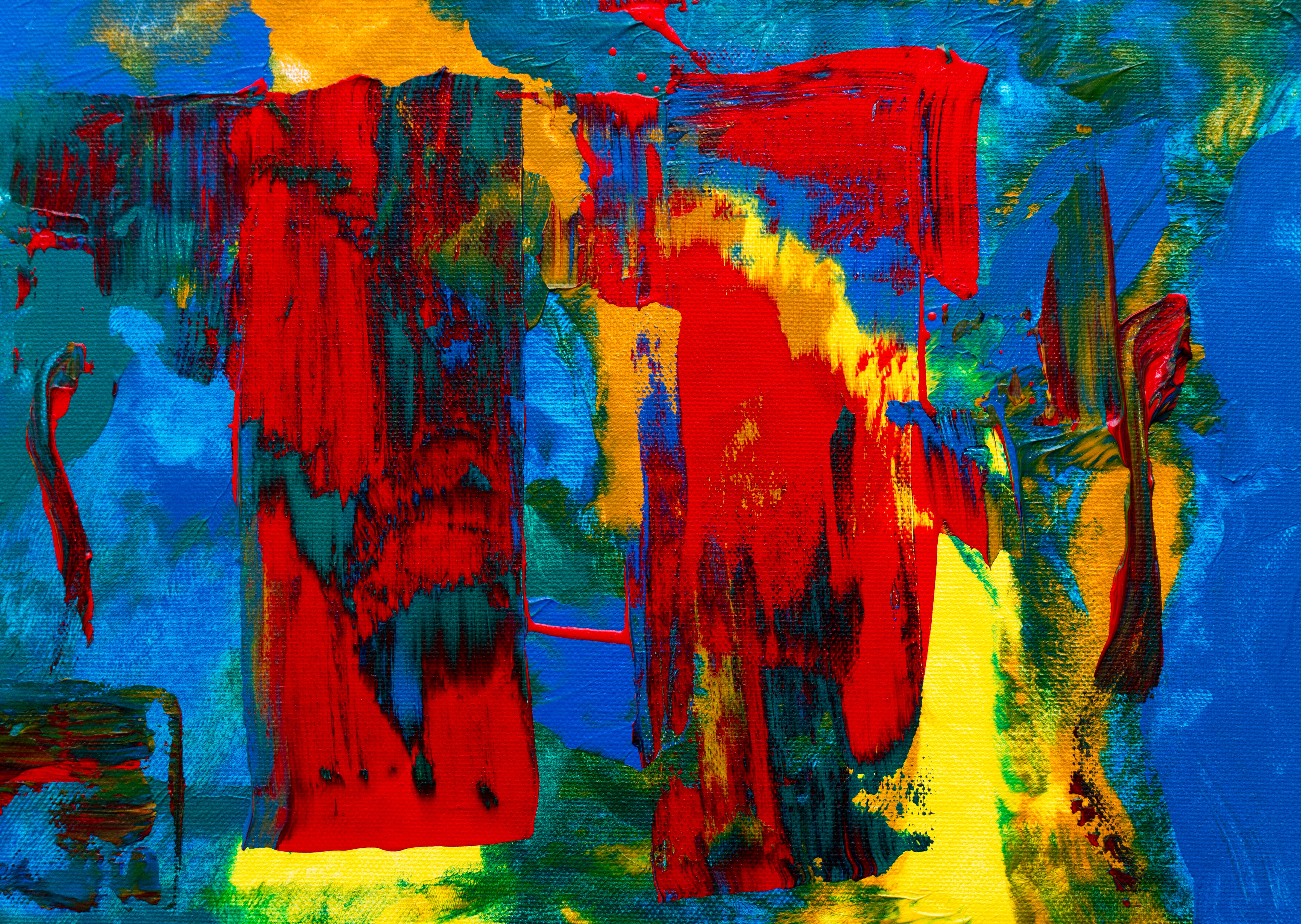 Red, Yellow, Green, and Blue Abstract Painting