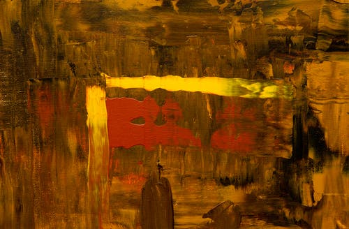Brown, Red, and Yellow Abstract Painting