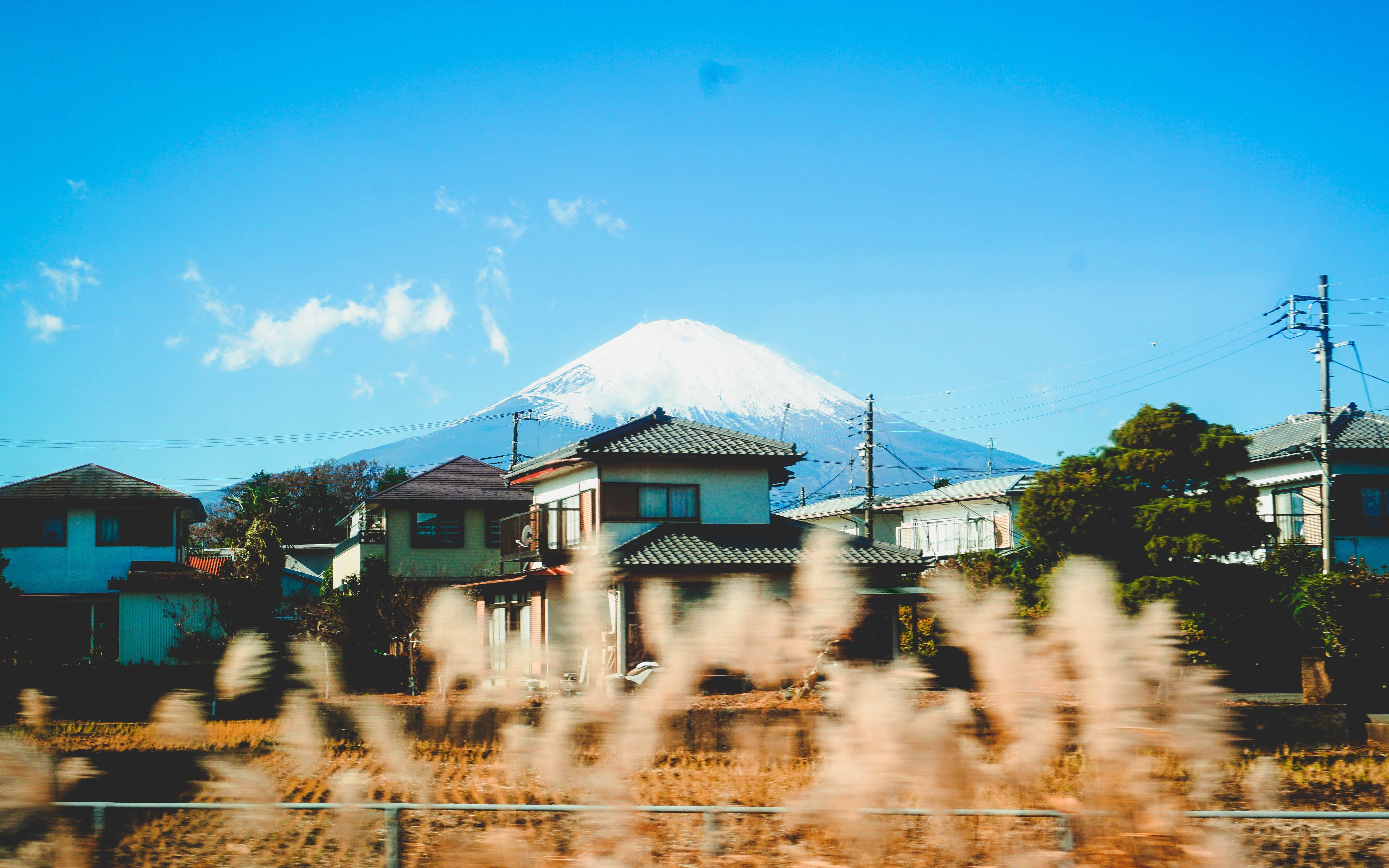 Ingyenes stockfotó ég, fényképészet, Fudzsi hegy, házak témában